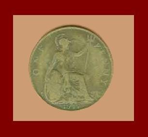 England United Kingdom Great Britain UK 1917 1 ONE PENNY BRONZE COIN KM#810 Warrior Queen Britannia