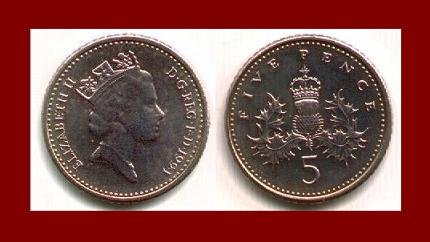England UK Great Britain 1991 5 FIVE PENCE COIN KM#937b ~ Crowned Scottish Thistle ~ BEAUTIFUL!