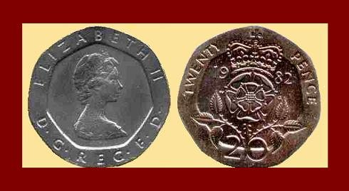 England United Kingdom Great Britain UK 1982 20 TWENTY PENCE COIN KM#931 ~ Crowned Tudor Rose