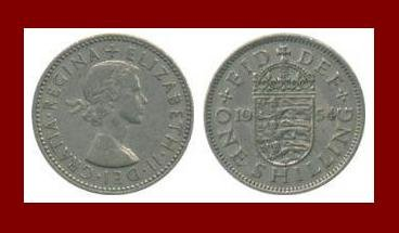 England United Kingdom Great Britain UK 1954 1 ONE SHILLING COIN KM#904 ~ English Coat of Arms
