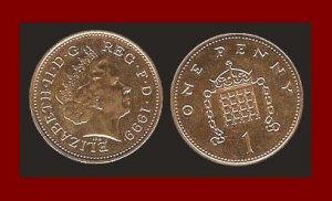 England United Kingdom Great Britain UK 1999 1 ONE PENNY COIN KM#986 Rank-Broadley Effigy BEAUTIFUL!