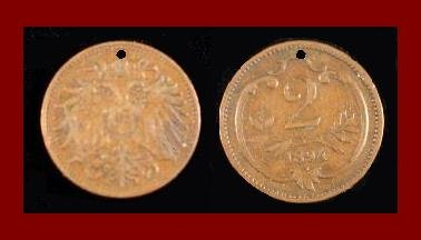 AUSTRIA 1894 2 HELLER BRONZE COIN KM#2801 - Habsburg Empire - Europe
