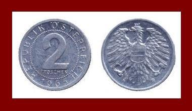 AUSTRIA 1965 2 GROSCHEN COIN KM#2876 - Europe