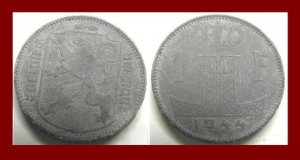 BELGIUM 1944 1 FRANC WWII German Occupation COIN KM#128 Europe BELGIE BELGIQUE Legends