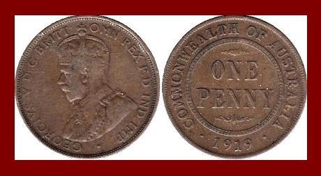 AUSTRALIA 1919(m) 1 PENNY BRONZE COIN KM#23 Oceania 31.5mm COMMONWEALTH