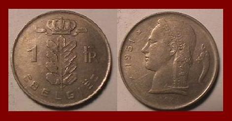 BELGIUM 1951 1 FRANC COIN KM#143.1 Europe - BELGIE Dutch Legend