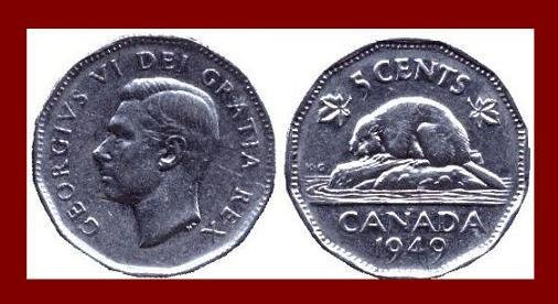 CANADA 1949 5 CENTS COIN KM#42 King George VI - Beaver - XF BEAUTIFUL!
