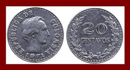 COLOMBIA 1971 20 CENTAVOS COIN KM#245 South America - Francisco de Paula Santander