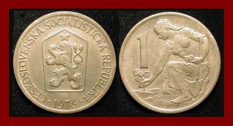 CZECHOSLOVAKIA 1976 1 KORUNA COIN KM#50 Europe - Kneeling Woman & Shovel