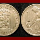 CZECHOSLOVAKIA 1976 1 KORUNA COIN KM#50 Europe - Kneeling Woman & Shovel