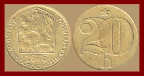 CZECHOSLOVAKIA 1976 20 HALERU BRASS COIN KM#74 Europe