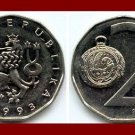 CZECH REPUBLIC 1993(L) 2 KORUN COIN KM#9 Crowned Lion & Pocket Watch - XF BEAUTIFUL!