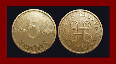 FINLAND 1964 5 PENNIA COPPER COIN KM#45 Europe
