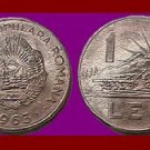 ROMANIA - TRANSYLVANIA 1963 1 LEU COIN KM#90 Europe - Romanian & Tractor ~ BEAUTIFUL!