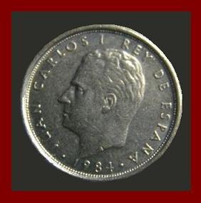 SPAIN 1984 5 PESETAS PTAS COIN KM#823 Y128a - King Juan Carlos I - XF  BEAUTIFUL!