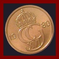 SWEDEN 1980 25 ORE COIN KM#851 Europe - King Carl XVI Gustaf - XF BEAUTIFUL!
