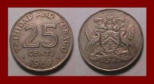 TRINIDAD & TOBAGO 1967 25 CENTS COIN KM#4 Caribbean ~ LOW MINTAGE!