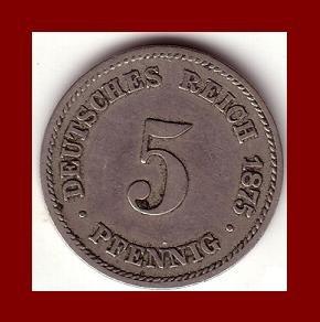 Empire GERMANY 1875(A) 5 PFENNIG COIN KM#3 Kaiser Friedrich Wilhelm I - BEAUTIFUL!