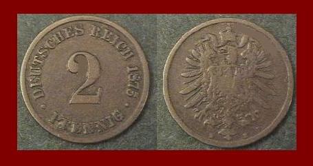 Empire GERMANY 1875(A) 2 PFENNIG COPPER COIN KM#2 Kaiser Friedrich Wilhelm I - XF - BEAUTIFUL!