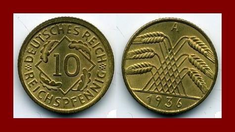 Weimar Republic GERMANY 1936(A) 10 REICHSPFENNIG COIN KM#40 Europe