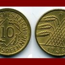 Weimar Republic GERMANY 1936(A) 10 REICHSPFENNIG COIN KM#40 Europe