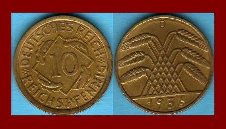 Weimar Republic GERMANY 1936(D) 10 REICHSPFENNIG COIN KM#40 Europe