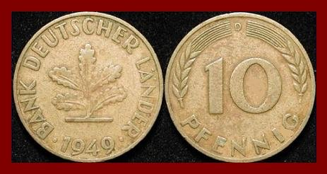 WEST GERMANY 1949(D) 10 PFENNIG COIN KM#103 Europe - Federal Republic of Germany - Post WWII Coin