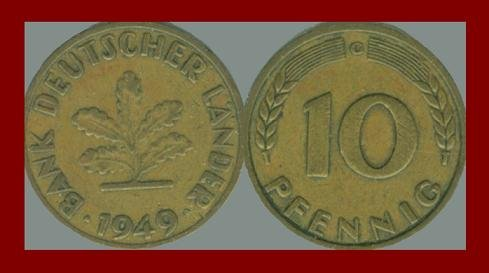 WEST GERMANY 1949(G) 10 PFENNIG COIN KM#103 Europe - Federal Republic of Germany - Post WWII Coin