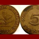 WEST GERMANY 1950(F) 5 PFENNIG COIN KM#107 Europe - Federal Republic of Germany - Post WWII Coin