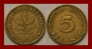 WEST GERMANY 1950(J) 5 PFENNIG COIN KM#107 Europe - Federal Republic of Germany - Post WWII Coin