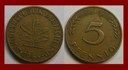 WEST GERMANY 1966(F) 5 PFENNIG COIN KM#107 Federal Republic of Germany - Post WWII Coin - SCARCE!