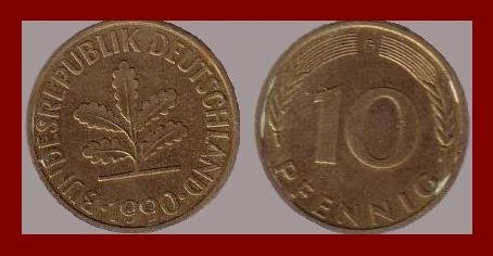 WEST GERMANY 1990(A) 10 PFENNIG COIN KM#108 Europe - Federal Republic of Germany - Post WWII Coin