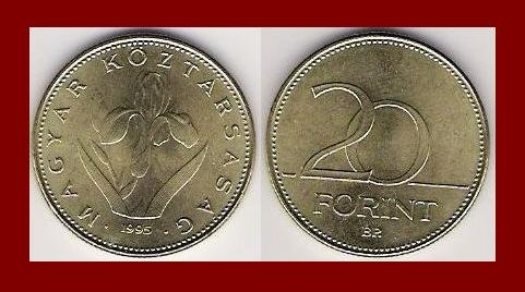 HUNGARY 1995 20 FORINT COIN KM#696 Europe - Iris Flower