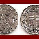 ICELAND 1965 25 ISLAND AUROR COIN KM#11 Europe - LOW MINTAGE! - XF BEAUTIFUL!