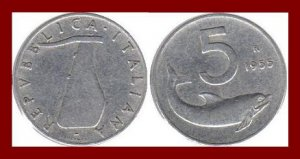 ITALY 1955 5 LIRE COIN KM#92 Europe Dolphin