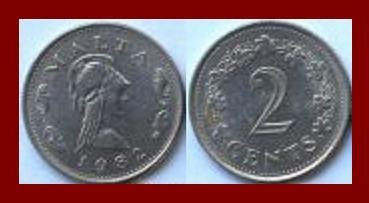 MALTA 1982 2 CENTS COIN KM#9 Europe Amazon Queen Penthesilea Maltese Rock Century Flowers BEAUTIFUL!