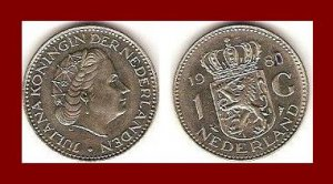 NETHERLANDS 1980 1 GULDEN COIN KM#184.a Europe - Queen Juliana - XF BEAUTIFUL!