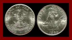PHILIPPINES 1964 50 CENTAVOS COIN KM#190 Southeast ASIA - 31mm LARGE!