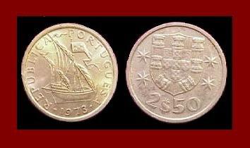 PORTUGAL 1973 2 1/2 (HALF) ESCUDOS COIN KM#590 Europe ~ Galleon Ship