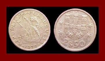 PORTUGAL 1978 2 1/2 (HALF) ESCUDOS COIN KM#590 Europe ~ Galleon Ship
