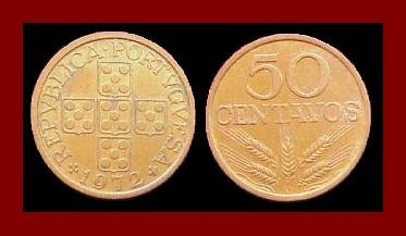 PORTUGAL 1972 50 CENTAVOS BRONZE COIN KM#596 Europe - 5 Shields