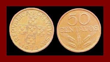 PORTUGAL 1973 50 CENTAVOS BRONZE COIN KM#596 Europe - 5 Shields