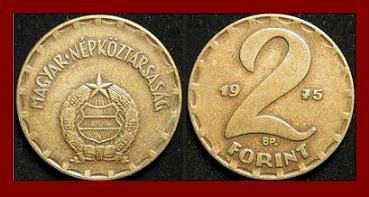 HUNGARY 1975 2 FORINT BRASS COIN KM#591 Europe