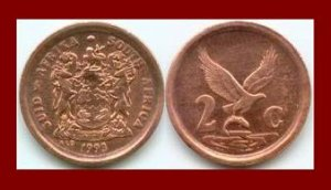 SOUTH AFRICA 1993 2 CENTS COIN KM#133 - Suid Bilingual Legend - Eagle & Fish