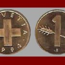 SWITZERLAND 1994 1 RAPPEN BRONZE COIN KM#46 Europe - LOW Mintage!