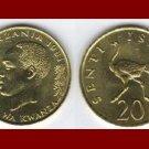 TANZANIA 1981 20 SENTI COIN KM#2 - Africa Swahili - Running Ostrich