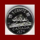 CANADA 1974 5 CENTS COIN KM#60.1 - XF BEAUTIFUL - Effigy by Machin - Beaver