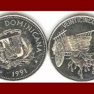 DOMINICAN REPUBLIC 1991 25 CENTAVOS COIN KM#71.1 Caribbean - XF BEAUTIFUL - Oxen pulling Cart