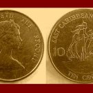 EAST CARIBBEAN STATES 1987 10 CENTS COIN KM#4 Galleon Ship
