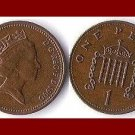 England United Kingdom Great Britain UK 1990 1 ONE PENNY BRONZE COIN KM#935 Crowned Porticullis